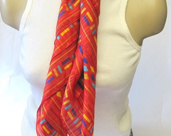 Vintage Red Italian Scarf Gold Blue Accents