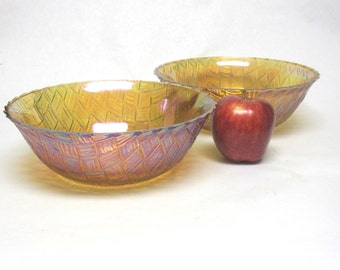 Gold Carnival Glass Bowls Set Of Two Basketweave