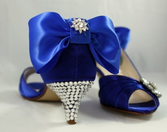 "Royal blue Swarovski crystal heels 1.75""- Merryweather - Wide shoes available"