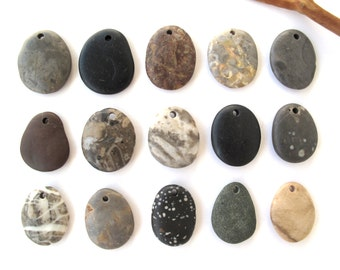 Rock Pendants Top Drilled Beach Stones Mediterranean River Stone Beads Natural Stone Beads DIY Jewelry Findings MARKED PENDANTS 28-32 mm