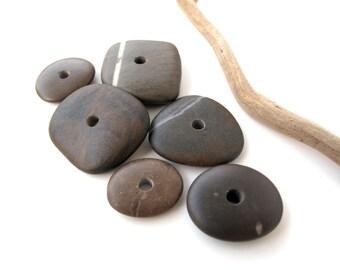 River Stone Cairn Beach Stone Beads Center Drilled Mediterranean Pebble Spacers DIY Jewelry Stacks DARK WHEELS 20-35 mm