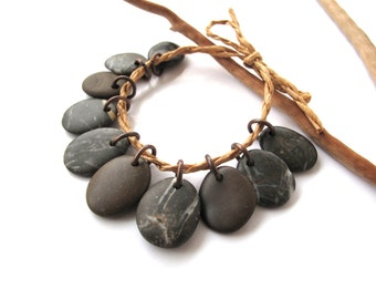 Beach Stone Beads Mediterranean Natural Stone Diy Jewelry Findings Rock Charms Pairs Copper ESPRESSO CHARMS 16-18 mm