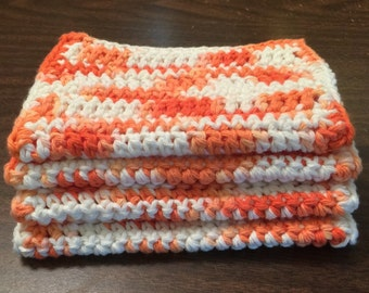 4 Large dish cloths/ dish rags/ wash cloths made with 100% cotton yarn in the color Orange Smoothie