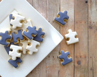 Puzzle Piece Decorated Cookies  - (2 Dozen)