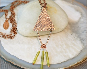 Wave Textured Copper Double Triangle Necklace with Olive Jade Dangles- 152N.C-1