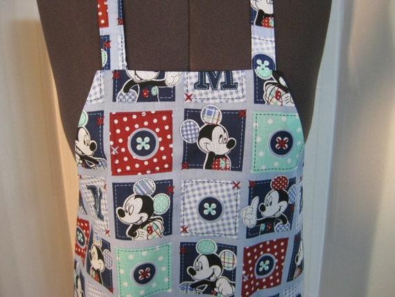 Mickey Mouse Adult Apron (Lined In Navy Blue Fabric)