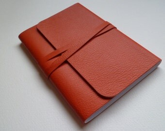 Leather Journal Leather Notebook Travel Journal Leather Book. Orange Fine Grained Leather .