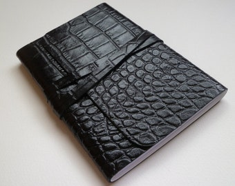 Leather Journal Leather Notebook Leather Book Travel Journal. Black Crocodile Effect Design Embossed onto the Leather.