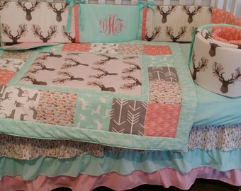 Woodland Girl Crib Baby bedding, Buck, deer, fawn, head silhouette, Arrow, Teepee, Aztec,3 Piece Quilt, bumper,and bed skirt coral grey mint