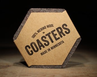 100% Wool Hexagon Felt Coasters - 5mm Thick German-milled Felt - Rich, Lightfast Colors - Natural and Renewable - Natural
