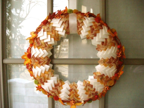 Thanksgiving Ribbon and Leaves Door Wreath - Centerpiece