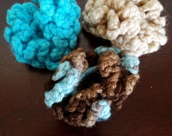 Sand and Surf Three Piece Ponytail Holder Set in Sand, Turquoise and Brown/Aqua Multi