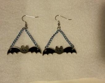 Black and Silver Bat Chandelier Earrings