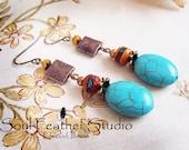 206•TURQUOISE Tribal Earrings•Boho Earrings•Dangle Earrings•Flower Earrings