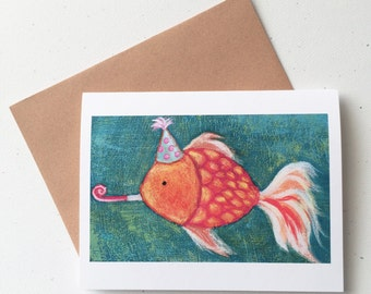 Where's the Party Goldfish Birthday Card by Megumi Lemons