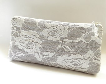 Ivory Lace Wedding Clutch, Ivory Roses on Silver Gray Clutch, Bridesmaid Lace Clutch, Prom Bag