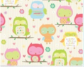 Owl and Company, Riley Blake Fabric, Owls Main in Cream, Owls in Pink, Green, and Blue on Beige, 1 yard