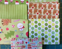 SaLE, SANTA EXPRESS!   7 SEVEN Fat Quarters from Riley Blake, Christmas Fabric SaLE