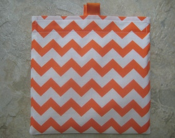 Orange Chevron Reusable Sandwich Bag, Reusable Snack Bag, Washable Treat Bag with tabs, Purse Organizer, Coin Purse, Makeup Bag