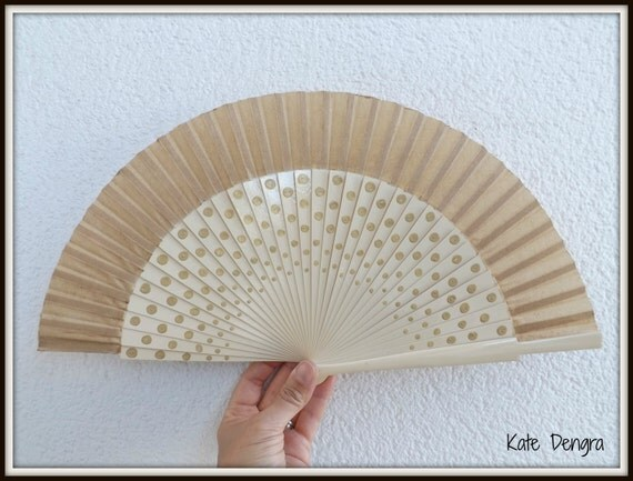 MTO Cream and Gold Polka Dot Dotty Elegant  Flamenco Wooden Handheld Fan Hand Painted in Spain by Kate Dengra