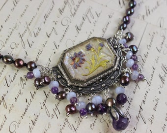 A Fine Day- Antique Intaglio, Freshwater Pearl, and Amethyst Collage Necklace- Purple, Lavender, Peacock Pearls- Silver- One of a Kind