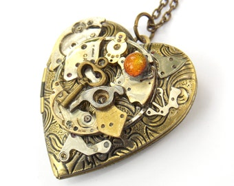 """Steampunk Heart Necklace Locket """"Aflame"""""""