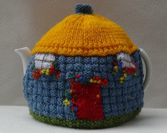 Thatched Cottage English Tea Cosy design Hand Knitted in England