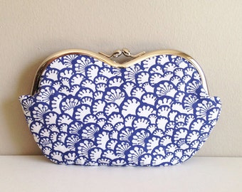 Paw Prints in Indigo, a large sunglass case or small clutch