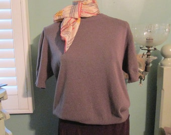 Vintage 60s Brown Sweater Women Medium Short Sleeves Pullover / Italy