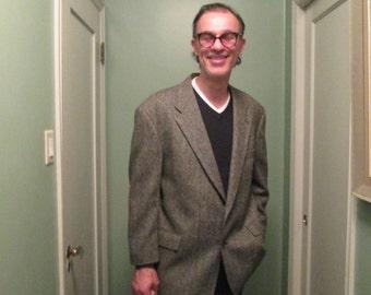 Vintage Herringbone Sport Coat Wool Suede Elbows / Evan Picone Blazer 46R