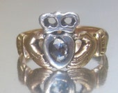 RARE Antique Georgian Hands Holding a Rose Cut Diamond Heart with Crown Engagement Ring. Claddagh Ring. Love. Loyalty. Friendship.