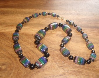 vintage necklace multi colored heavy lucite