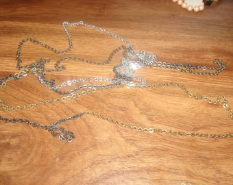 vintage necklace long chain black gold silver