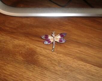 vintage pin brooch goldtone dragonfly purple ivory colored enamel rhinestones