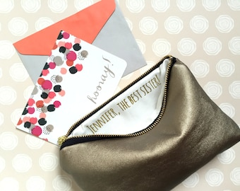Gifts for Her Under 50. Custom Message Makeup Bag with Personalized Message