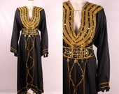 Vintage 60s 70s - Ethnic Tribal Ornate Gold Embroidered Brocade Beaded Coin Long Caftan Maxi Dress - Boho Hippie Gypsy - Festival