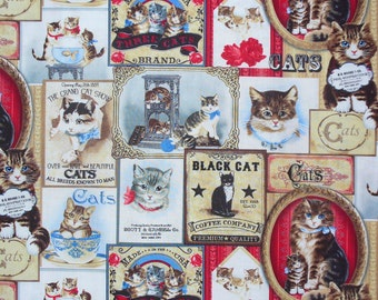 Cat Fabric, Cat Labels, Cat Posters, Cats Ads, Kitties Fabric, Vintage Style Cats, Cat Breeds, Timeless Treasures, By the Yard