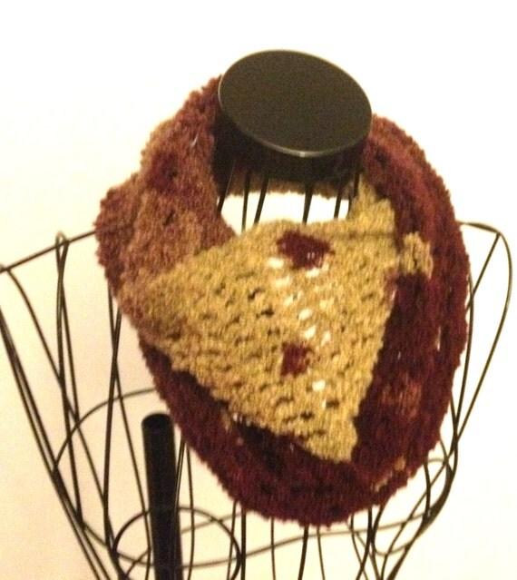 Crochet Infinity Scarf Maroon & Beige
