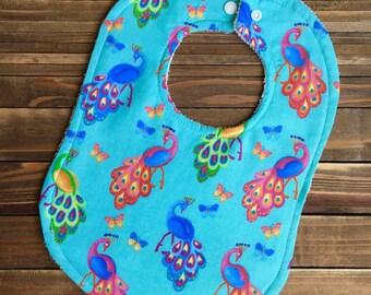 Peacock Baby Bib Shabby Chic Baby Shower Gift