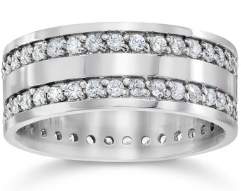 Diamond Eternity Ring Double Ring Wedding Band 1.55 Carat 14K White Gold Womens