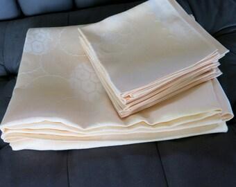 Vintage Apricot Etamine Rayon Damask Tablecloth 12 Napkins Banquet Size 108b
