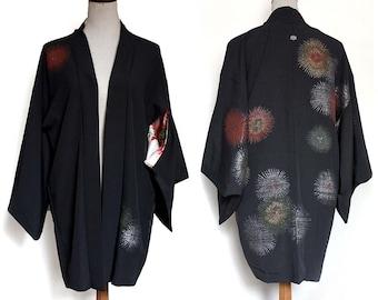 Vintage Silk Haori Jacket. Black Silk. Pine Needles in Metallic Lamé. XS/S/M