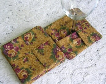 Fabric Drink Coasters Gold Floral - Wine Glass Coaster Set - Drink Mats - Shabby Cottage Chic Decor - Country French Decor