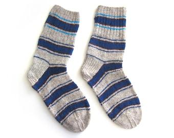 Pyjama Cool Striped Socks hand knit in wool. Size XL. Mens.