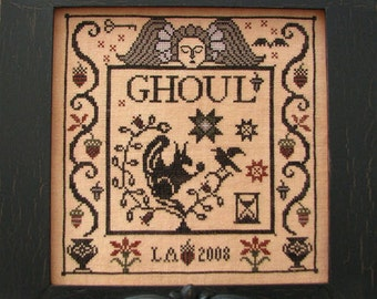 Ghoul Halloween cross stitch pattern by Plum Street Samplers at thecottageneedle.com October 31 cemetery tomb hand embroidery