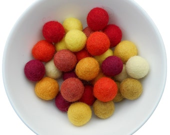 20 wool felt balls 2cm autumn mix