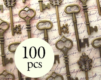 Skeleton Key Wedding Favors - The Waterford Collection - Vintage Style - Key Assortment in BRONZE - Set of 100 Keys - 3 STYLES