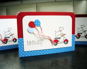 Birthday Card, Westie Birthday Card, Dog Lover Gift, Westie on a Scooter