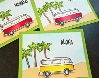 Hawaii Thank You Card Set of 3, Mahalo Cards, Aloha, Summer Thank You Notes, VW Bus, Hippy Cards Set