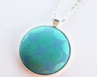 Turquoise pendant, modern necklace, turquoise and silver, fabric pendant, fabric necklace, textile jewelry, textile necklace, modern fabric